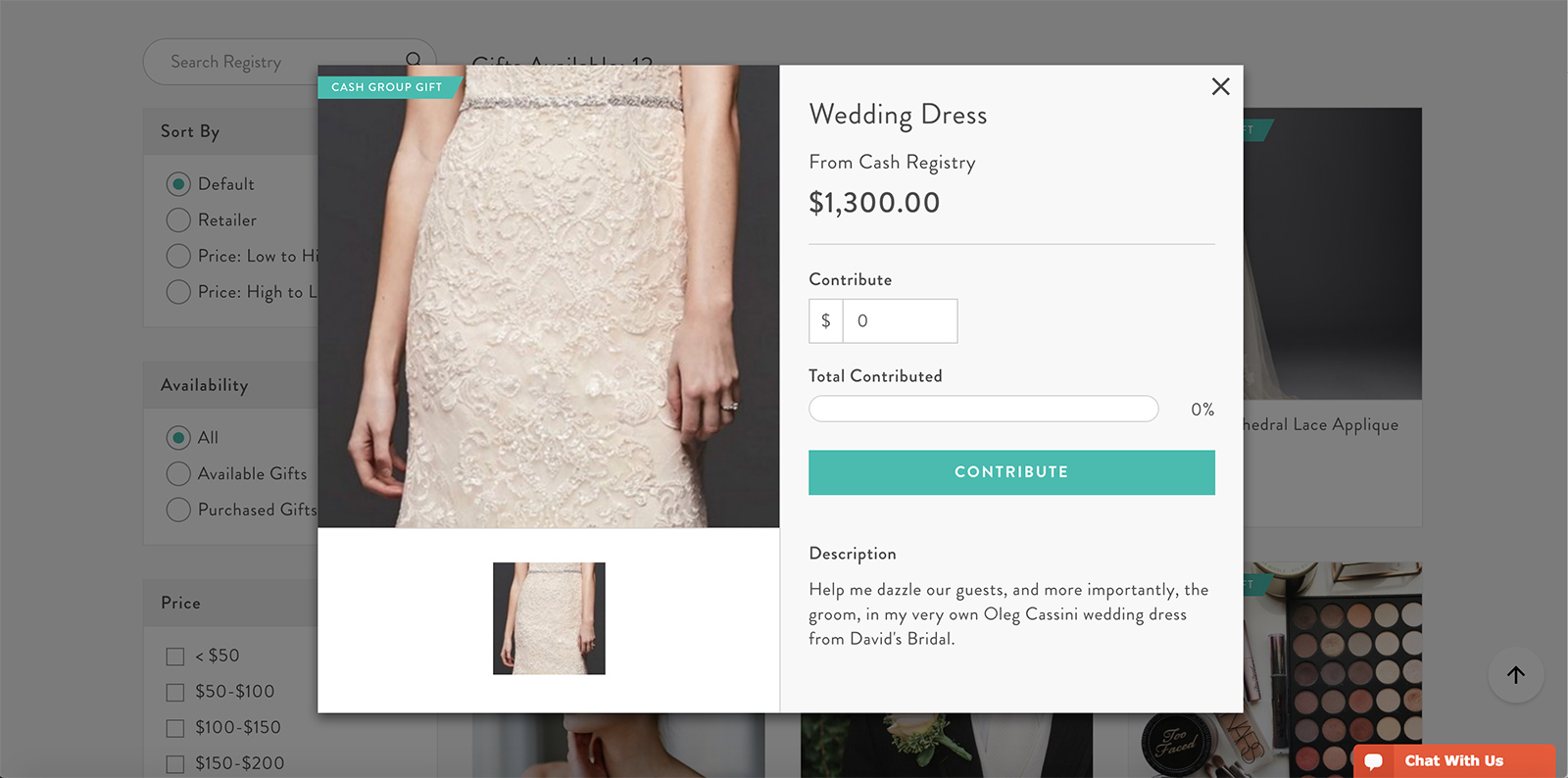 Screen shot of sample wedding dress cash registry
