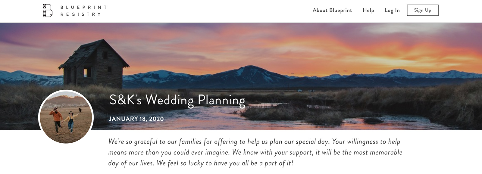 Screen shot of sample wedding fund registry for S&K's Wedding Planning
