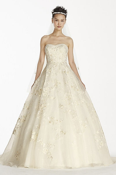 Strapless Organza Ball Gown with Beaded Embroidery Style CWG700