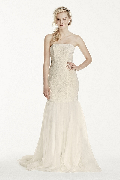 Strapless Lace Trumpet with Tulle Skirt Style KP3765