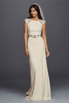 Second slideshow: Cap Sleeved Crepe Sheath Gown