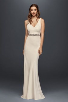 Wonder by Jenny Packham Jeweled Crepe Sheath Gown with Low Back