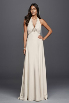 Second slideshow: Deep V-Neck Halter Gown