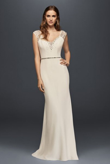Wonder by Jenny Packham Cap Sleeve Beaded Crepe Sheath Gown