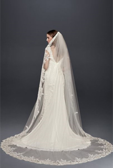 Wonder by Jenny Packham Corded Lace Applique Cathedral Veil
