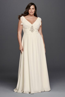 Second slideshow: V-Neck Flutter Cap Sleeve Plus Size Gown