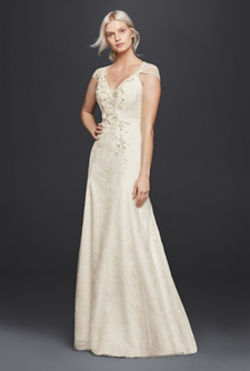Wonder by Jenny Packham Sheath V-Neck Gown with Floral Applique