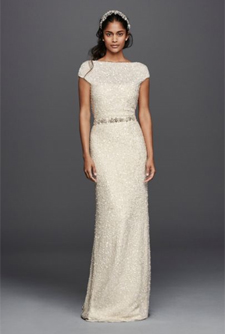 Wonder by Jenny Packham Hand Beaded Sheath Cap Sleeve Gown