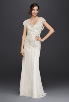 Wonder by Jenny Packham Beaded Sheath Gown with Blouson Bodice
