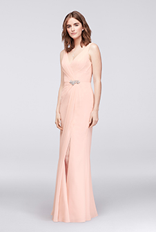 Wonder by Jenny Packham Faux-Wrap Chiffon Gown with Crystal Detail