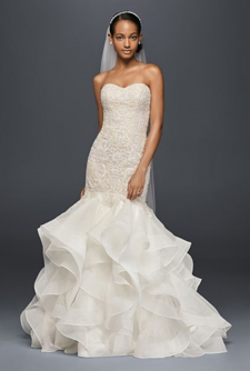 Oleg Cassini Scroll Lace Trumpet Wedding Dress