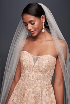Oleg Cassini Rose Gold Embroidered Cathedral Veil