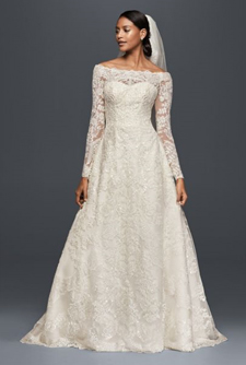 Oleg Cassini Off-The-Shoulder Lace A-Line Wedding Dress