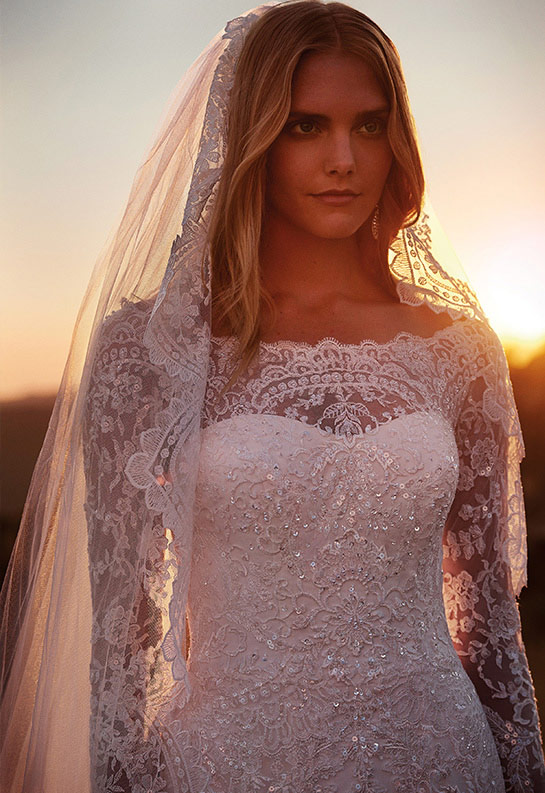 Close up of bride in lace wedding dress with lace embellished veil
