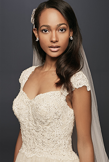 Oleg Cassini Cap Sleeve Lace Wedding Ball Gown with Beading