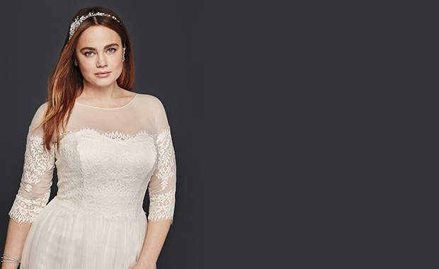 David's Bridal Woman: sizes 14W to 30W specially designed with you in mind