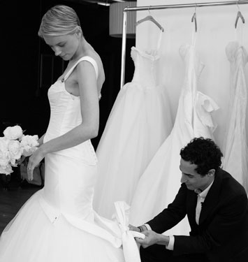 Truly Zacposen | Bride sizing for her wedding gown