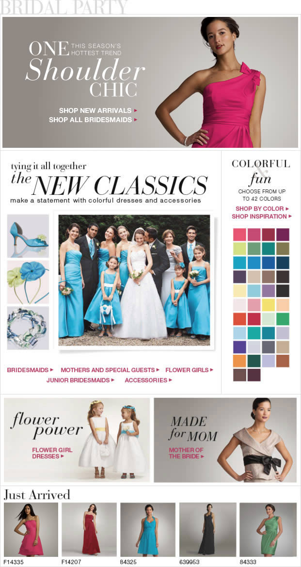 Stylish party dresses in a variety of colors from davidsbridal.com