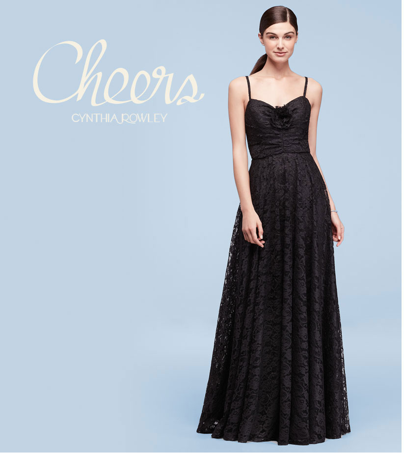 Long Black Lace Dress with Rose Detail