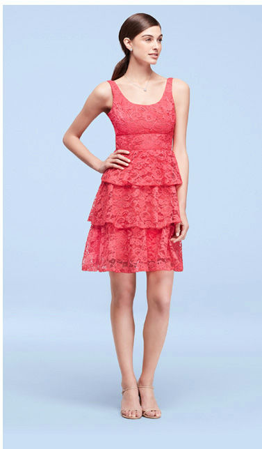 Tiered Lace Sleeveless Short Dress in Guava