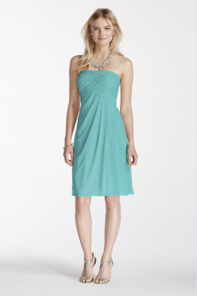 Short Strapless Mesh Dress with Pleated Bodice Style F17048
