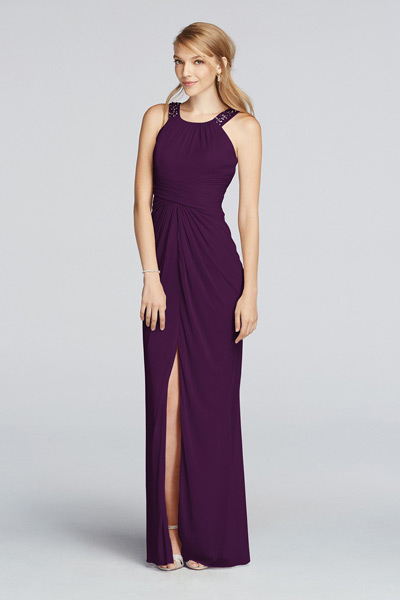 Long Beaded U Neck Mesh Dress with Ruched Waist Style F17093