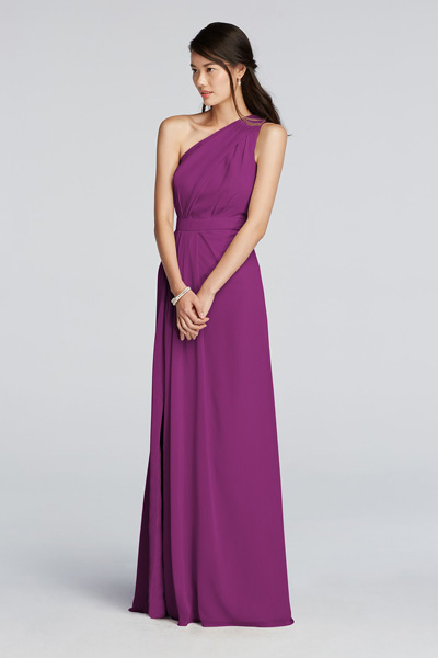 Long One Shoulder Chiffon Dress Style F18055