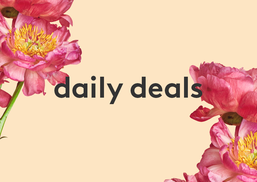 Daily Deals with a green background and floral detail