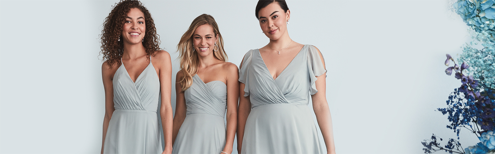 brides wearing dusty blue spring 2020 bridesmaid dresses.
