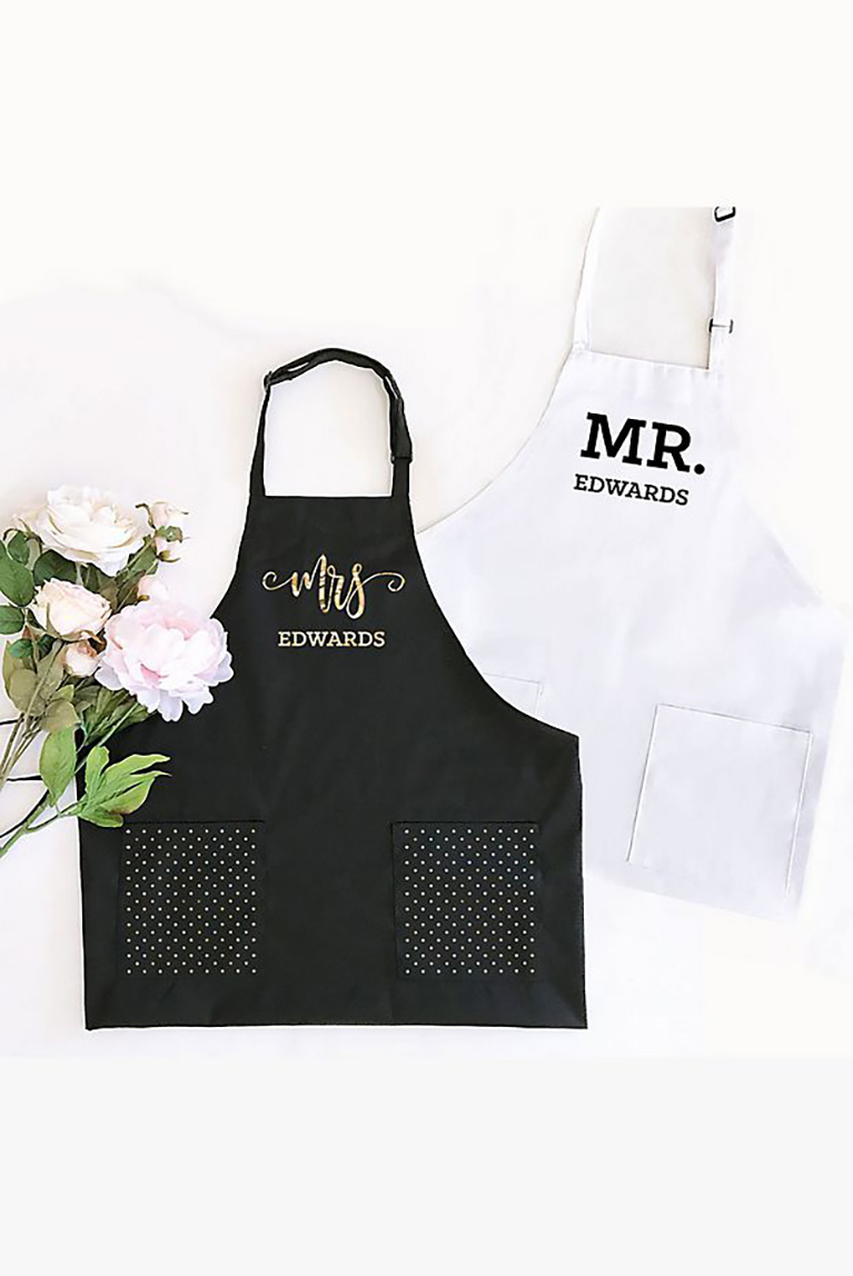 Gifts for newleyweds and their first home two aprons.
