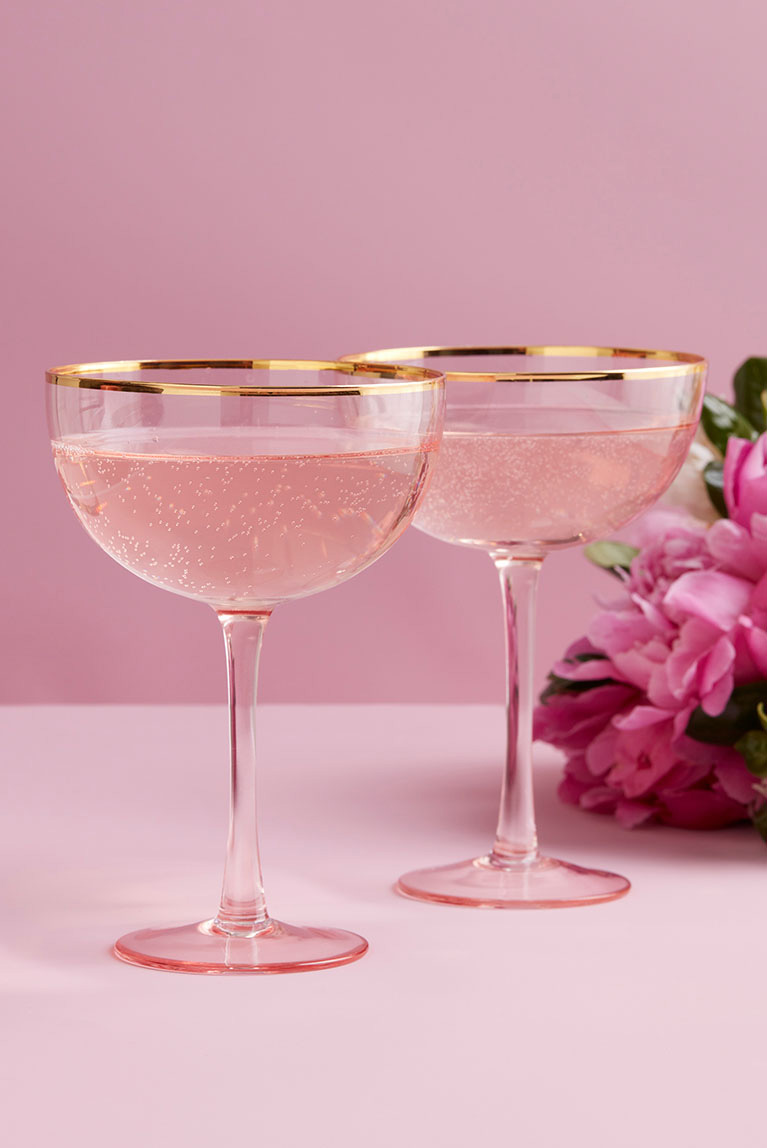Two champagne glasses for reception decor.