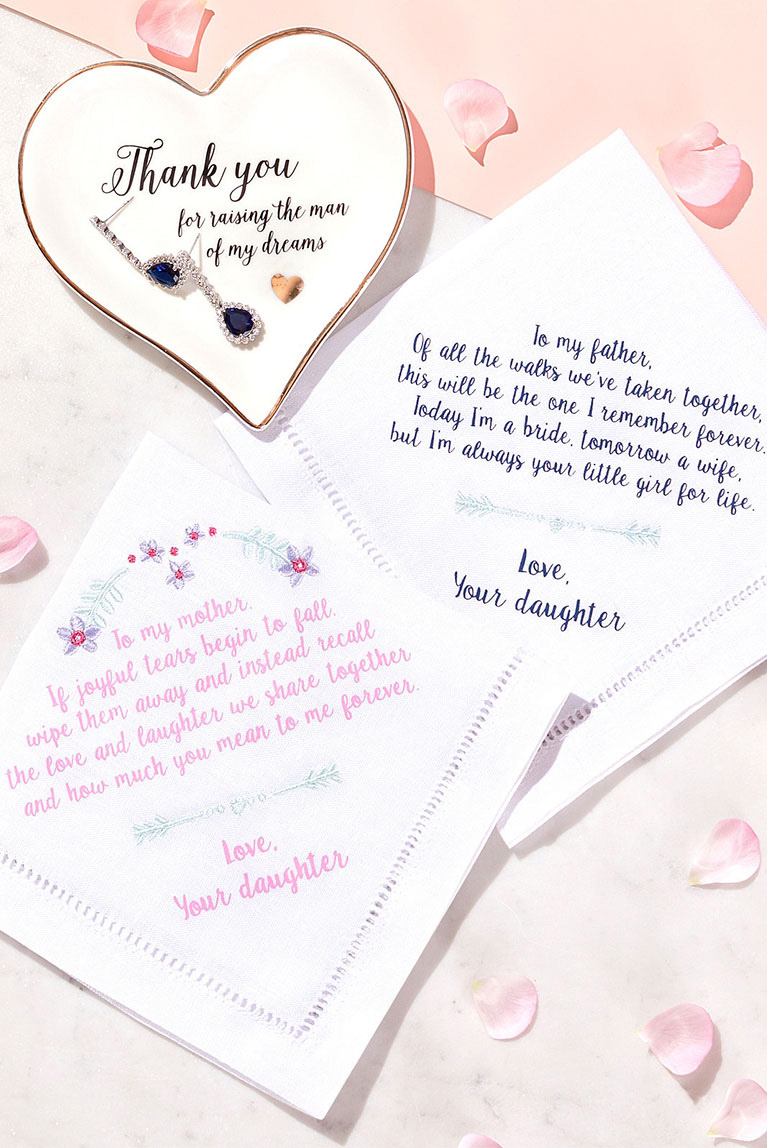Gift ideas for parents of the bride and groom.