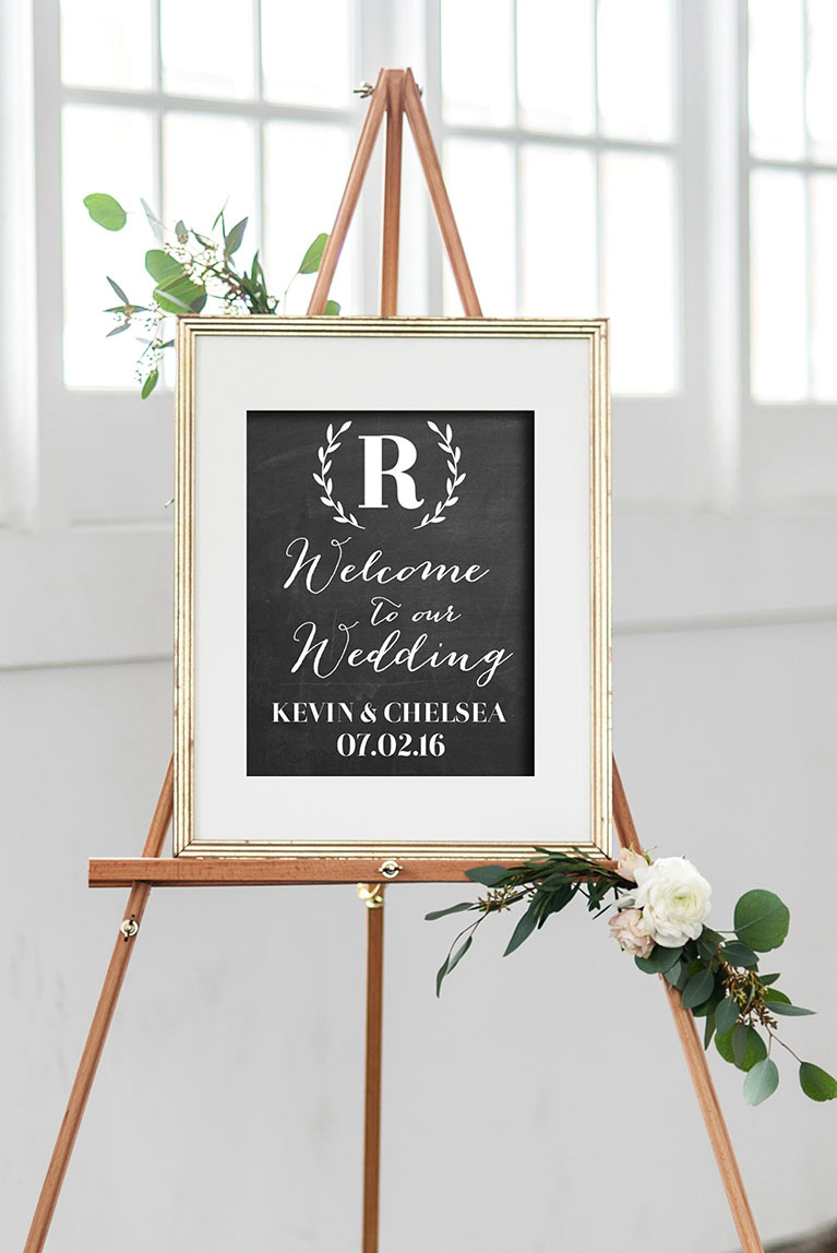 Sign with bride and groom personalization.