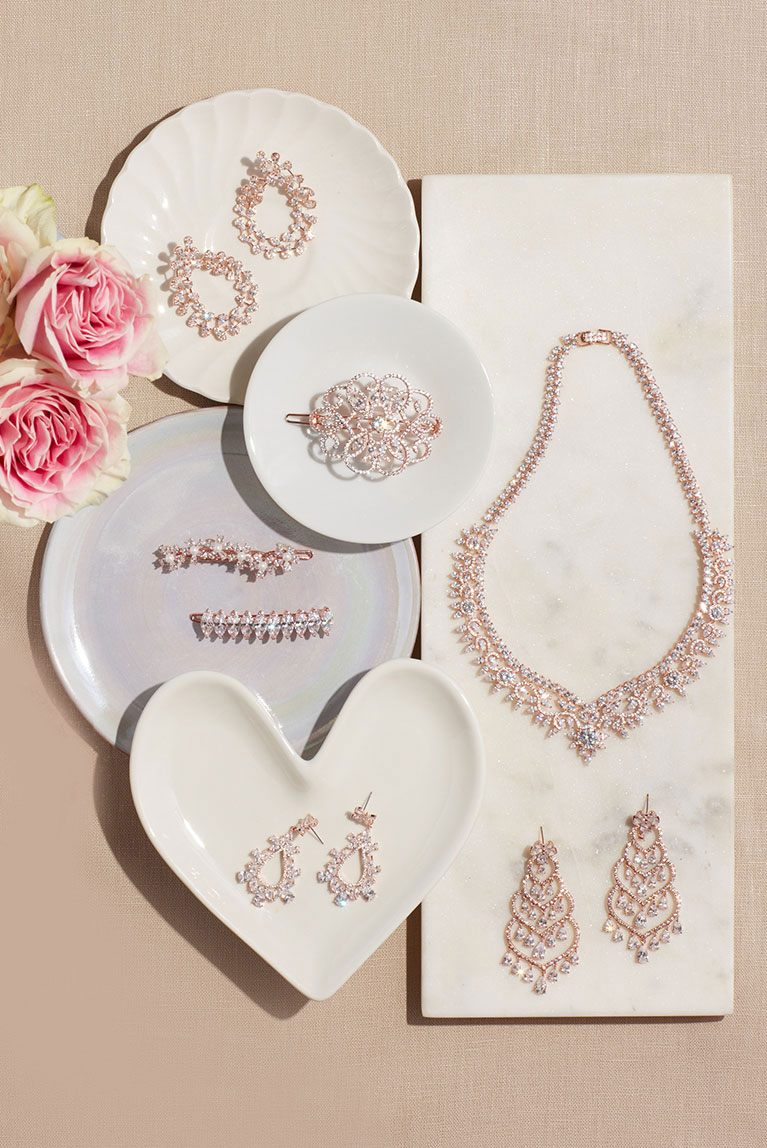 Earrings, hair pins, and necklaces for bride and her bridal party