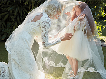 Bride and Flower Girl draped in long veil.