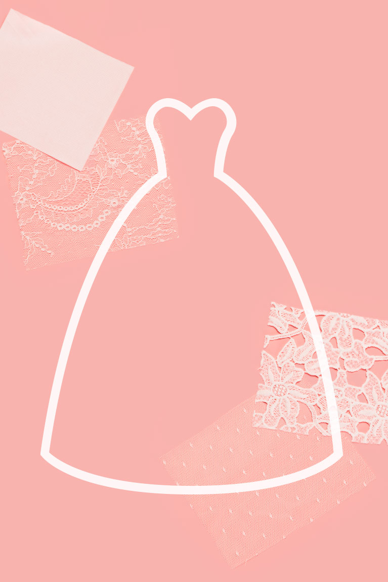 white ball gown dress silhouette on top of a pink background