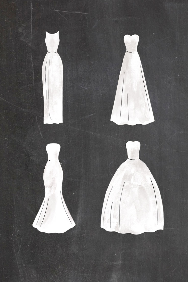 Four dress silhouettes on a black background