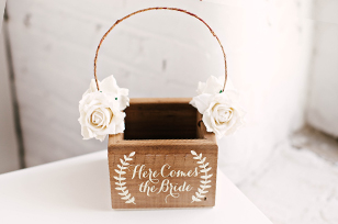 Wooden Flower Girl Basket with Flowers
