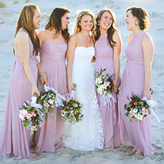 Pink Bridal Party on Beach