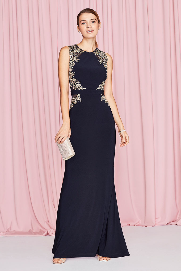 Dress styles inspiration tips trends 2017 davids bridal woman posing in a long black party dress and holding a handbag ombrellifo Image collections