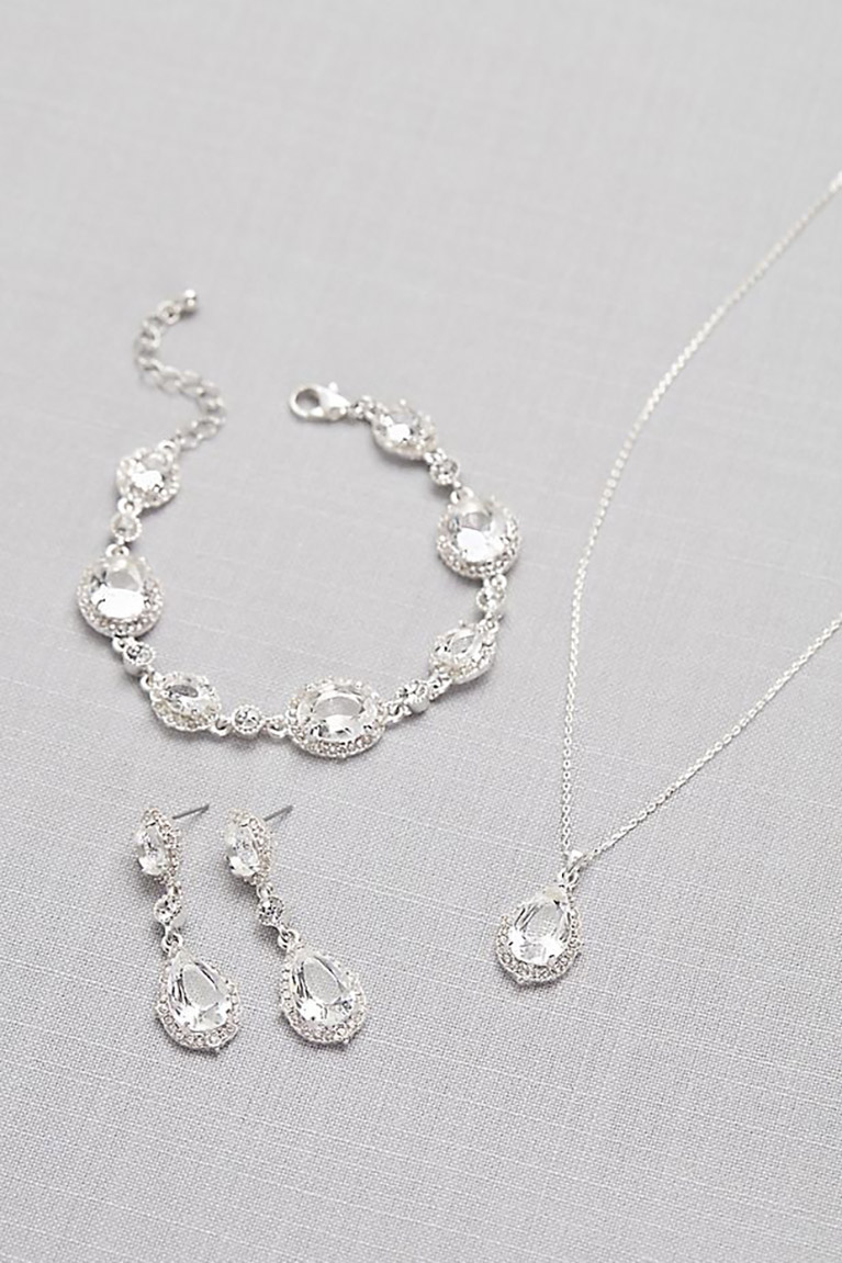 silver earring, necklace and earring set