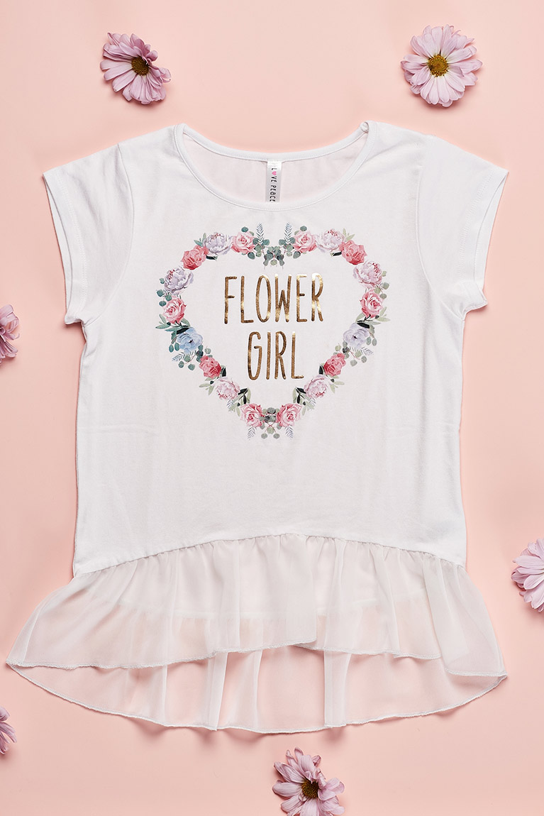 Small t shirt with tulle bottom labeled Flower Girl in a heart wreath