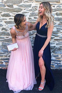 Prom girls laughing