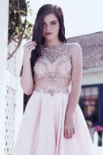 Prom girl in short white dress with crystal embellished top