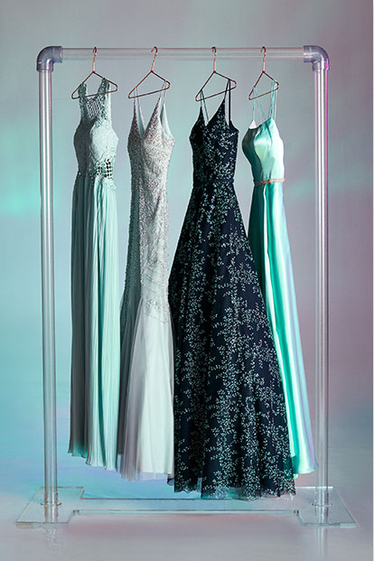 Clothes rack of new prom dresses for 2020.