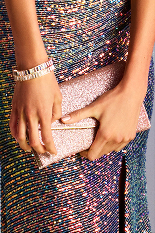 Pink sparkly clutch for prom.