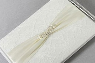 White Lace Wedding Guest Book