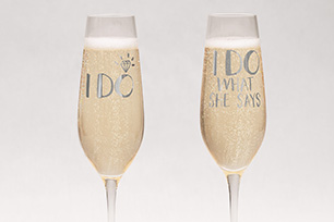 Engraved Crystal Wedding Toasting Flutes
