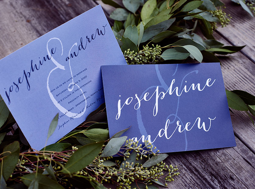 Blue Personalized Wedding Invitations