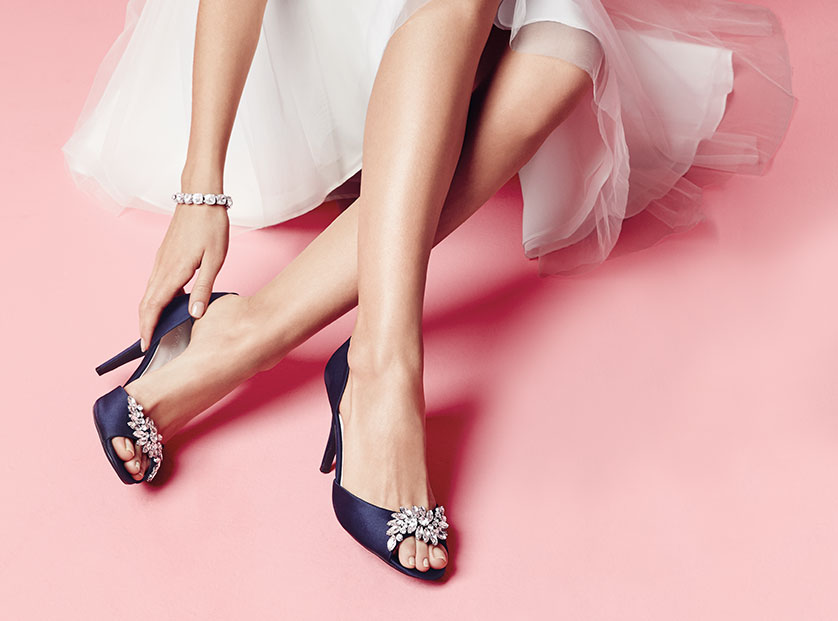 Navy Peep Toe Designer Shoes